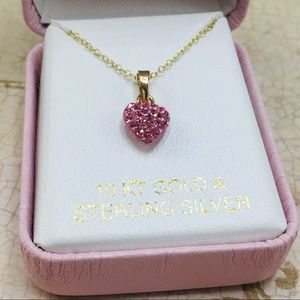 Jewelry - 10k gold plated heart pave necklace silver 925